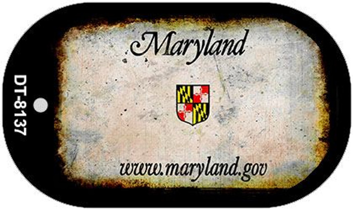 Maryland Rusty Blank Background Novelty Metal Dog Tag Necklace DT-8137