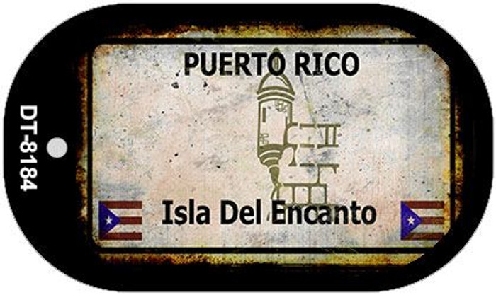 Puerto Rico Rusty Blank Background Novelty Metal Dog Tag Necklace DT-8184