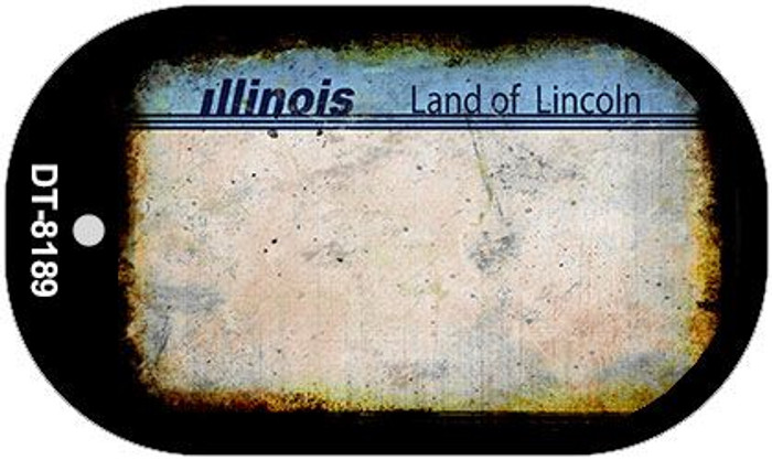 Illinois Rusty Blank Background Novelty Metal Dog Tag Necklace DT-8189