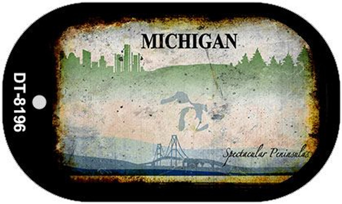 Michigan Rusty Blank Background Novelty Metal Dog Tag Necklace DT-8196