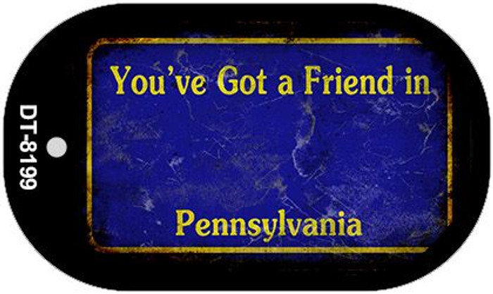 Pennsylvania Blue Rusty Blank Background Novelty Metal Dog Tag Necklace DT-8199