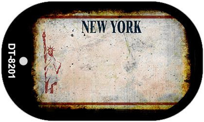 New York White Rusty Blank Background Novelty Metal Dog Tag Necklace DT-8201