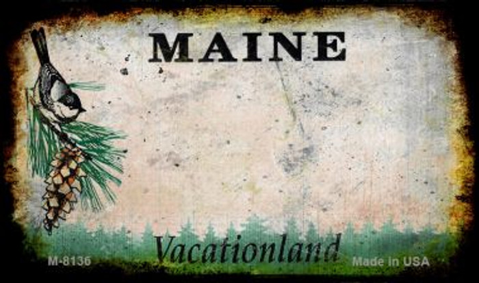 Maine Rusty Blank Background Novelty Magnet M-8136