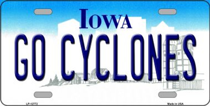 Go Cyclones Novelty Metal License Plate LP-12772