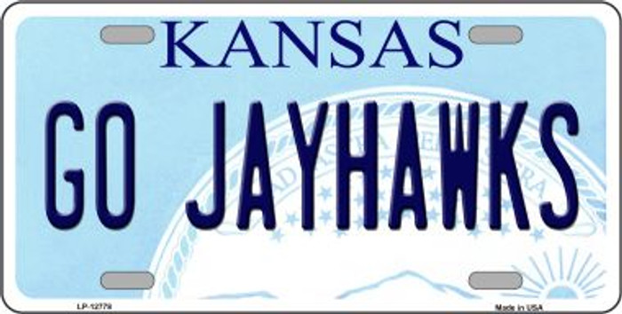 Go Jayhawks Novelty Metal License Plate LP-12778