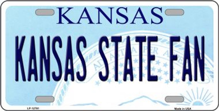 Kansas State Fan Novelty Metal License Plate LP-12781