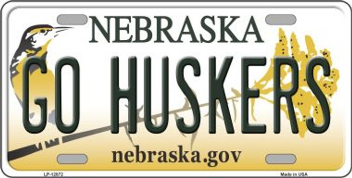 Go Huskers Novelty Metal License Plate LP-12872