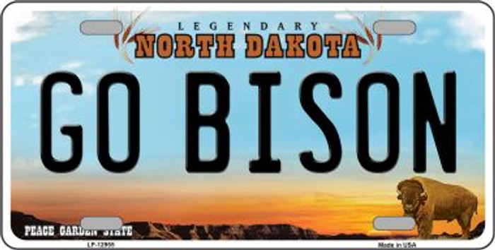 Go Bison Novelty Metal License Plate LP-12955