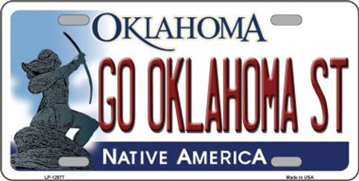 Go Oklahoma State Novelty Metal License Plate LP-12977