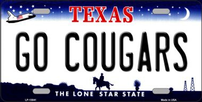 Go Cougars Novelty Metal License Plate LP-13041