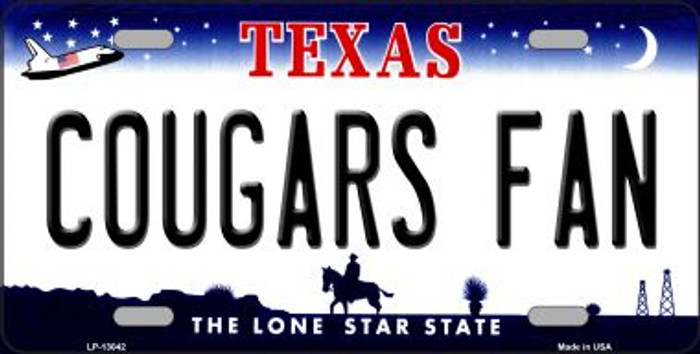 Cougars Fan Novelty Metal License Plate LP-13042