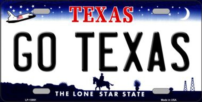 Go Texas Novelty Metal License Plate LP-13061