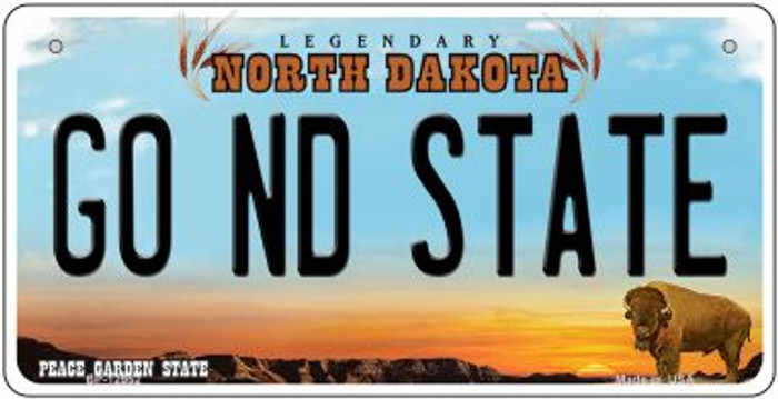 Go North Dakota State Novelty Metal Bicycle Plate BP-12952
