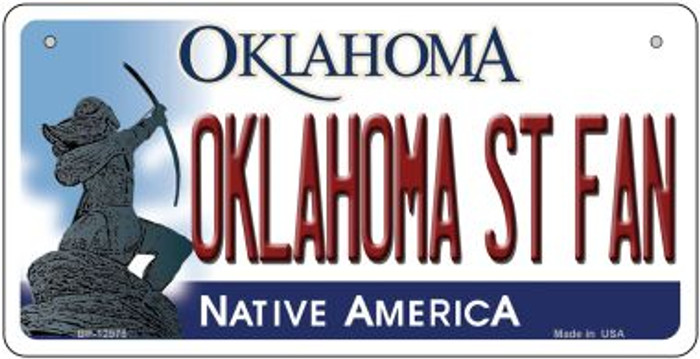 Oklahoma State Fan Novelty Metal Bicycle Plate BP-12978