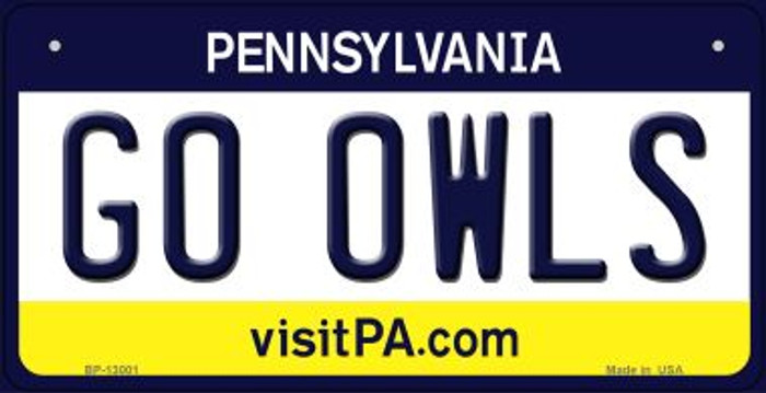 Go Owls Novelty Metal Bicycle Plate BP-13001