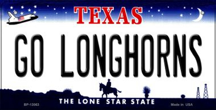 Go Longhorns Novelty Metal Bicycle Plate BP-13063