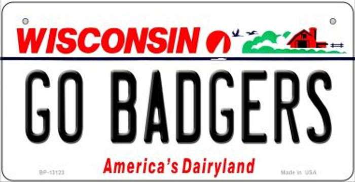 Go Badgers Novelty Metal Bicycle Plate BP-13123