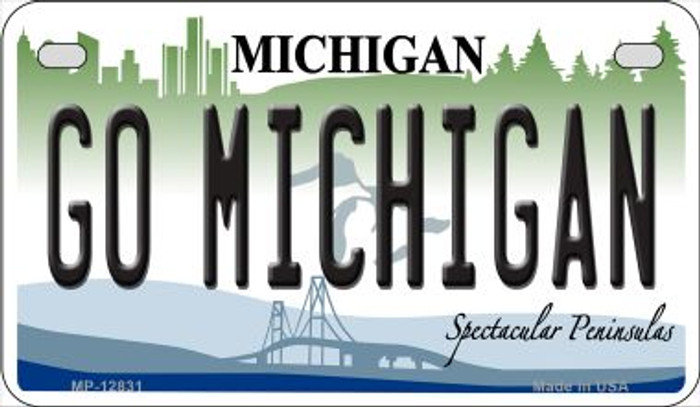 Go Michigan Novelty Metal Motorcycle Plate MP-12831