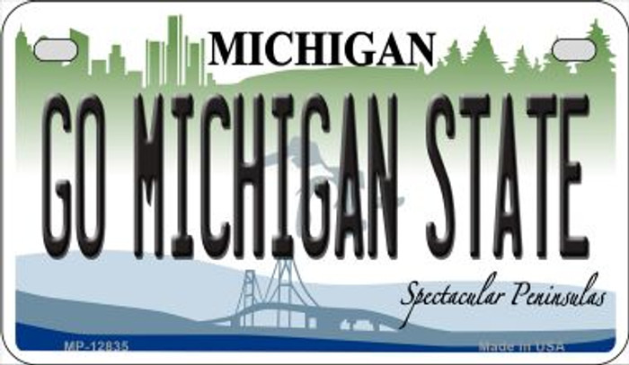 Go Michigan State Novelty Metal Motorcycle Plate MP-12835