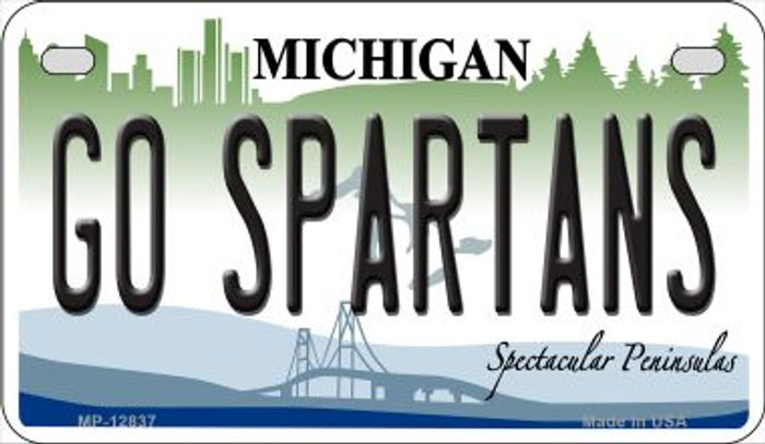 Go Spartans Novelty Metal Motorcycle Plate MP-12837
