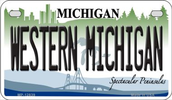 Western Michigan Novelty Metal Motorcycle Plate MP-12839