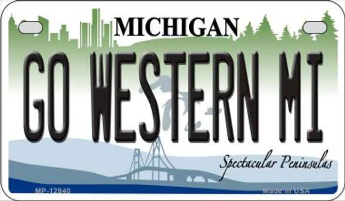 Go Western Michigan Novelty Metal Motorcycle Plate MP-12840