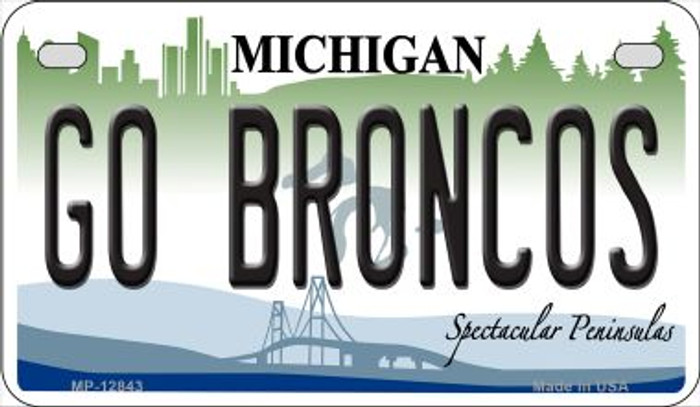 Go Broncos Novelty Metal Motorcycle Plate MP-12843