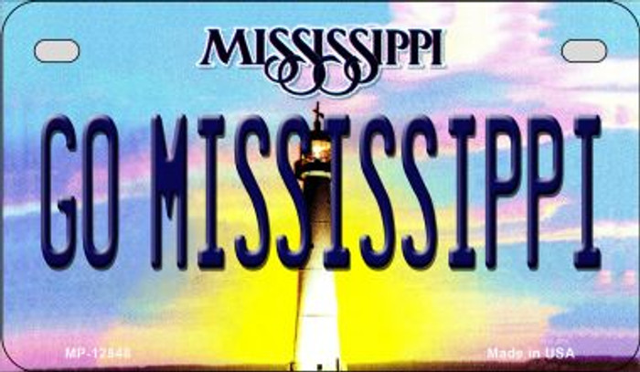 Go Mississippi Novelty Metal Motorcycle Plate MP-12848