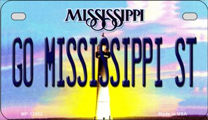 Go Mississippi State Novelty Metal Motorcycle Plate MP-12852