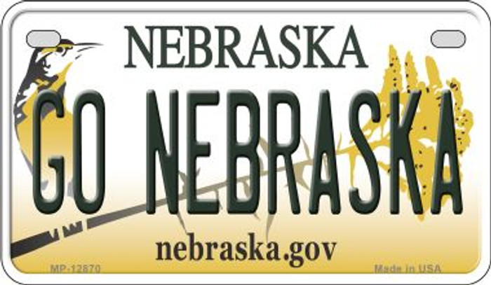 Go Nebraska Novelty Metal Motorcycle Plate MP-12870
