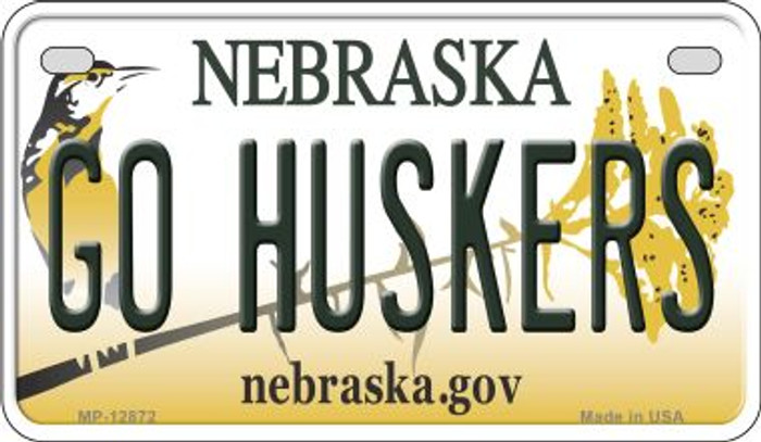 Go Huskers Novelty Metal Motorcycle Plate MP-12872