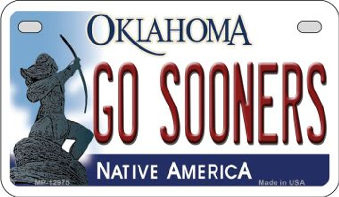 Go Sooners Novelty Metal Motorcycle Plate MP-12975