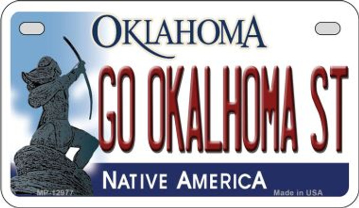 Go Oklahoma State Novelty Metal Motorcycle Plate MP-12977