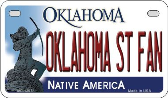 Oklahoma State Fan Novelty Metal Motorcycle Plate MP-12978