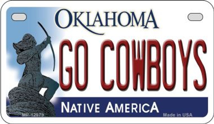 Go Cowboys Novelty Metal Motorcycle Plate MP-12979