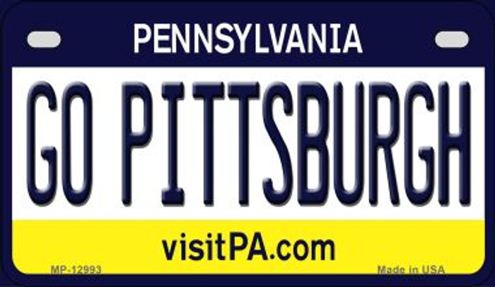 Go Pittsburgh Novelty Metal Motorcycle Plate MP-12993
