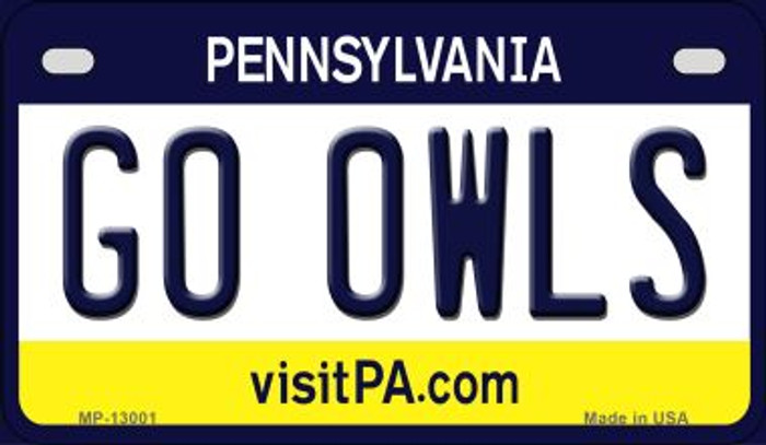 Go Owls Novelty Metal Motorcycle Plate MP-13001