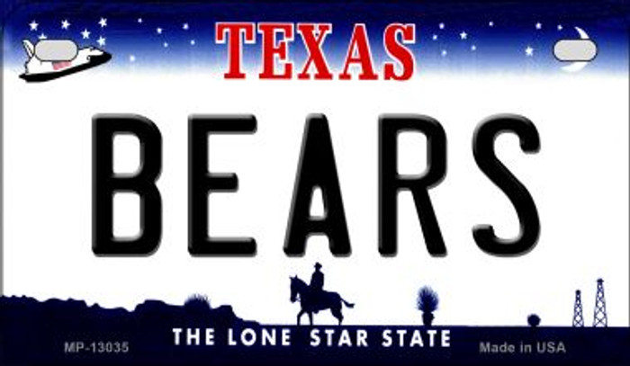 Bears Novelty Metal Motorcycle Plate MP-13035