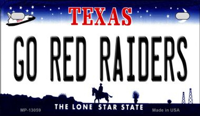 Go Red Raiders Novelty Metal Motorcycle Plate MP-13059