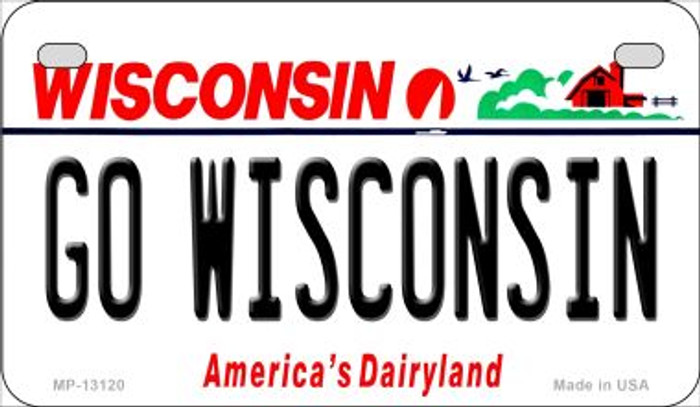Go Wisconsin Novelty Metal Motorcycle Plate MP-13120