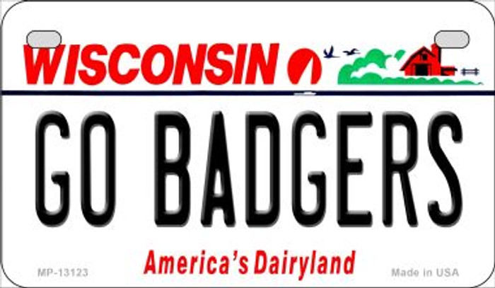 Go Badgers Novelty Metal Motorcycle Plate MP-13123