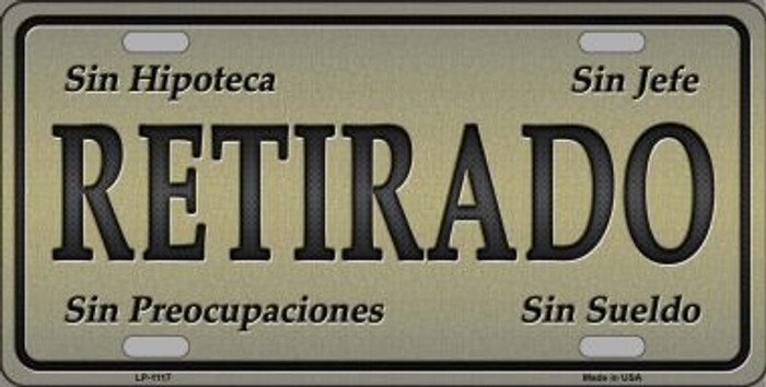 Retirado Novelty Metal License Plate