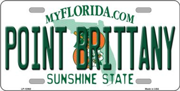 Florida Point Brittany Novelty Metal License Plate LP-12062
