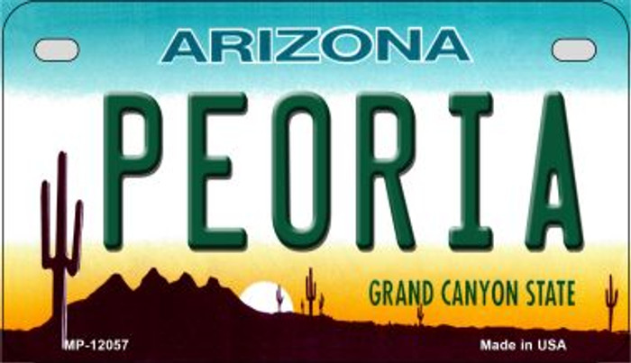 Arizona Peoria Novelty Metal Motorcycle Plate MP-12057