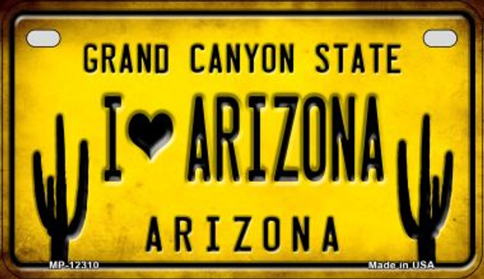I Love Arizona Novelty Metal Motorcycle Plate MP-12310