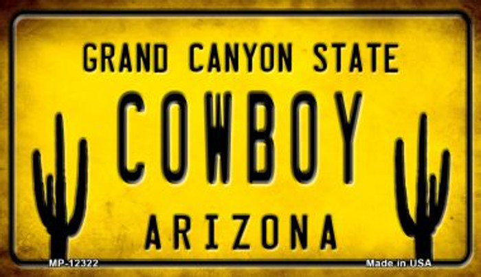 Arizona Cowboy Novelty Metal Motorcycle Plate MP-12322