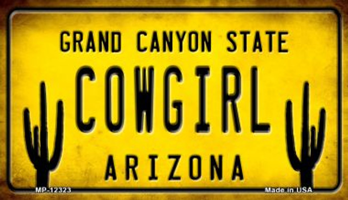 Arizona Cowgirl Novelty Metal Motorcycle Plate MP-12323