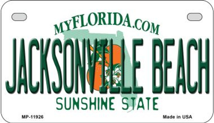 Florida Jacksonville Beach Novelty Metal Motorcycle Plate MP-11926