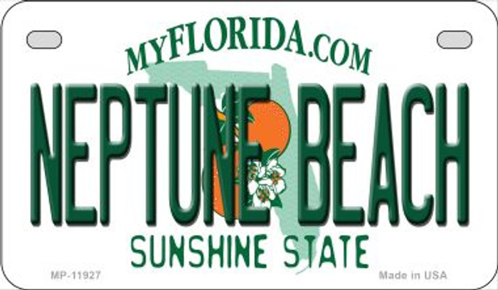 Florida Neptune Beach Novelty Metal Motorcycle Plate MP-11927
