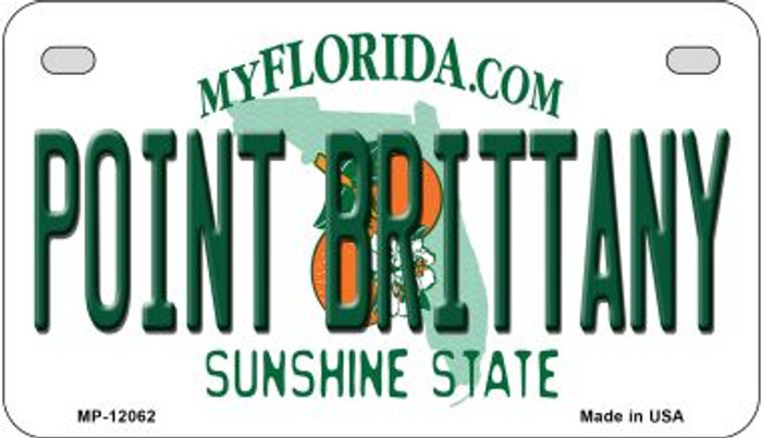 Florida Point Brittany Novelty Metal Motorcycle Plate MP-12062